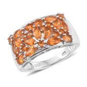 Salamanca Fire Opal Platinum Over Sterling Silver Ring (Size 8.0) TGW 1.71 cts.