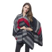 Black and Red Stipe Pattern Cozy Shawl Wrap