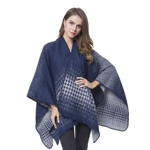 Navy Blue and Gray Houndstooth and Chevron Pattern Reversible Shawl Wrap  (One Size)