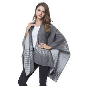 Gray and Dark Gray Houndstooth and Chevron Pattern Reversible Cozy Shawl Wrap (One Size)