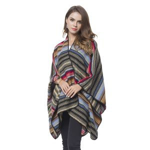 Multi Color Zigzag Stripe Pattern 70% Acrylic & 30% Polyester Blanket Wrap (27.56x51.19 in)