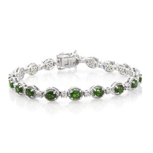 Russian Diopside, Cambodian Zircon Platinum Over Sterling Silver Bracelet (7.50 In) TGW 8.46 cts.