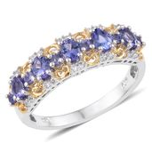 Premium AAA Tanzanite, Cambodian Zircon 14K YG and Platinum Over Sterling Silver Ring (Size 7.0) TGW 1.79 cts.