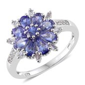 Premium AAA Tanzanite, White Topaz Platinum Over Sterling Silver Floral Ring (Size 10.0) TGW 2.38 cts.