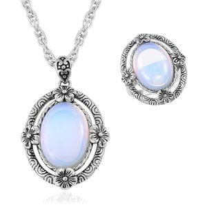 Opalite Black Oxidized Stainless Steel Ring (Size 6) and Pendant With Chain (20 in) TGW 15.00 cts.