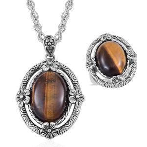 One Day TLV South African Tigers Eye Black Oxidized Stainless Steel Ring (Size 10) and Pendant With Chain (20 in) TGW 15.00 cts.
