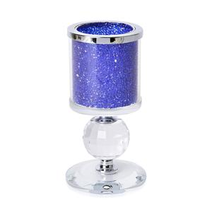 Doorbuster Blue Resin, Glass Candle Holder with Crystal Ball (5.51x2.75 in)