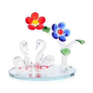 Multi Color Glass Flower Plant and Two Swan Crystal Figurine (5.11x5.51 in)