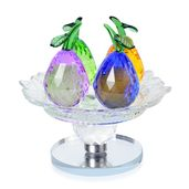 Multi Color Glass Fruit Plate Design Crystal Decor (5.51x5.11x3.14 in)