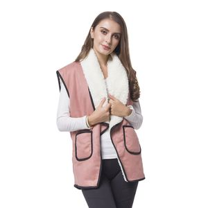 Mauve 50% Polyester and 50% Faux Suede Fold Over Collar Vest with Pockets (One Size)