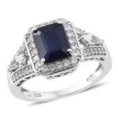 Kanchanaburi Blue Sapphire, White Topaz, Cambodian Zircon Platinum Over Sterling Silver Contemporary Style Ring (Size 8.0) TGW 3.92 cts.