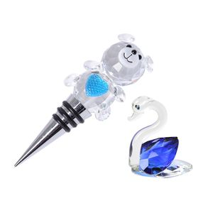 Glass, Resin Swam Décor and Teddy Bear Wine Bottle Stopper