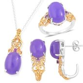 One Day TLV Burmese Purple Jade, Amethyst 14K YG Over and Sterling Silver J-Hoop Earrings, Ring (Size 5) and Pendant With Chain (18 in) TGW 23.99 cts.