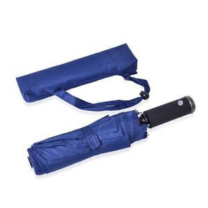 Blue Three Fold Umbrella with LED Light Handle (12 in) (3xLR44 Included)