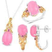 Burmese Pink Jade, Orissa Rhodolite Garnet 14K YG Over and Sterling Silver J-Hoop Earrings, Ring (Size 9) and Pendant With Chain (18 in) TGW 24.33 cts.