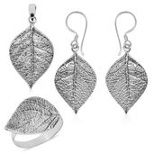 One to Own Bali Legacy Collection Sterling Silver Birch Leaf Earrings, Ring (Size 5) and Pendant without Chain