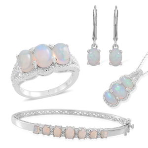 Ethiopian Welo Opal Sterling Silver Bangle (7.50 in), Lever Back Solitaire Earrings, Trilogy Split Ring (Size 5) and Pendant With Chain (18 in) TGW 5.83 cts.