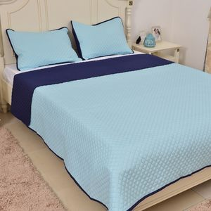 Light Blue and Navy Microfiber Coverlet (68x86 in) and Sham (20x26 in)