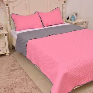 Pink and Gray Microfiber Coverlet (68x86 in) and Sham (20x26 in)