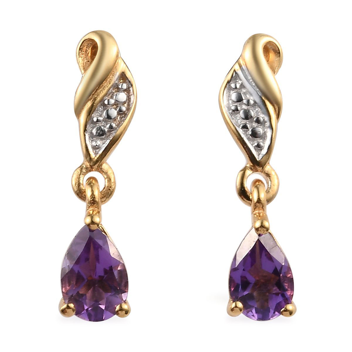 Bolivian Amethyst 14K YG Over and Sterling Silver Drop Earrings TGW 0.76 cts.