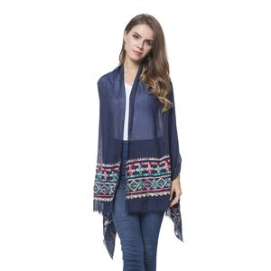 Navy Embroidery 100% Polyester Bohemian Style Scarf (70x28 in)