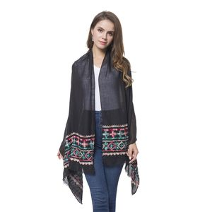 Black Embroidery 100% Polyester Bohemian Style Scarf (70x28 in)