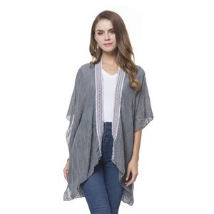 Gray 100% Polyester Kimono with Embroidery Lace (35.43x27.56 in)