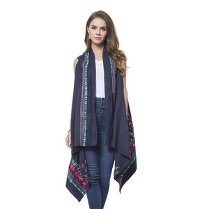 Navy Floral and Striped Embroidery 100% Polyester Sleeveless Drape Kimono (One Size)