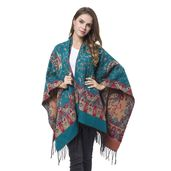 Turquoise Paisley Pattern 60% Acrylic and 40% Polyester Ruana with Fringes (One Size)