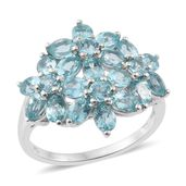 Madagascar Paraiba Apatite Platinum Over Sterling Silver Floral Ring (Size 9.0) TGW 4.56 cts.