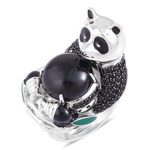 Burmese Black Jade, Thai Black Spinel Black Rhodium Sterling Silver Panda Ring (Size 8.0) TGW 15.38 cts.