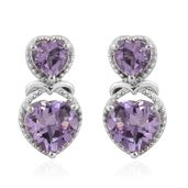 Rose De France Amethyst Platinum Over Sterling Silver Heart Earrings TGW 3.22 cts.