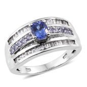 Premium AAA Tanzanite, White Topaz Platinum Over Sterling Silver Ring (Size 7.0) TGW 2.25 cts.
