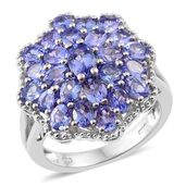 Tanzanite Platinum Over Sterling Silver Cluster Ring (Size 6.0) TGW 4.54 cts.