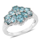 Madagascar Paraiba Apatite Platinum Over Sterling Silver Ring (Size 7.0) TGW 2.50 cts.