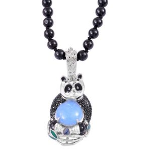 Mega Clearance Burmese Blue Jade, Thai Black Spinel Black Rhodium Sterling Silver Panda Pendant With Beaded Necklace (18 in) TGW 159.33 cts.