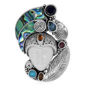 Mega Clearance Bali Goddess Collection Carved Bone, Multi Gemstone Sterling Silver Pendant without Chain TGW 11.84 cts.