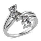 Espirito Santo Aquamarine Stainless Steel 5 Stone Ring (Size 9.0) TGW 0.90 cts.