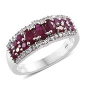 Burmese Ruby, Ruby, Cambodian Zircon Platinum Over Sterling Silver Ring (Size 9.0) TGW 1.98 cts.