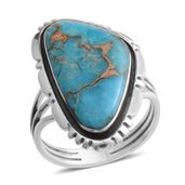 Santa Fe Style Mojave Blue Turquoise Sterling Silver Ring (Size 6.0) TGW 3.75 cts.
