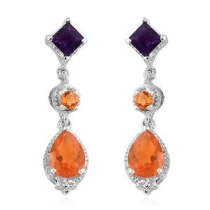 Salamanca Fire Opal, Amethyst Platinum Over Sterling Silver Earrings TGW 2.10 cts.