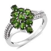 Russian Diopside, Cambodian Zircon Platinum Over Sterling Silver Ring (Size 9.0) TGW 2.70 cts.