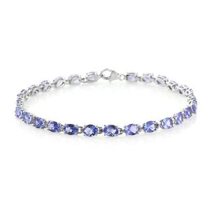 Tanzanite Platinum Over Sterling Silver Bracelet (7.50 In) TGW 8.50 cts.