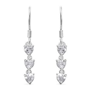 Lab Created White Sapphire Sterling Silver Heart Drop Earrings TGW 1.98 cts.