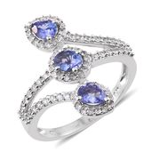 Premium AAA Tanzanite, Cambodian Zircon Platinum Over Sterling Silver Bypass Ring (Size 8.0) TGW 1.76 cts.