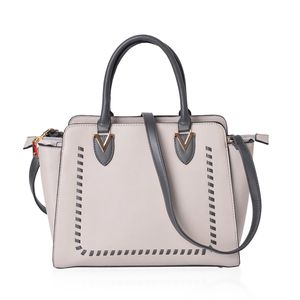 Stone Gray and Pewter Faux Leather Stitched Pattern Handbag (14x5x11 in) with Standing Studs and Removable Strap (42 in)