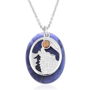 Sodalite, South African Tigers Eye Silvertone Pendant With Stainless Steel Chain (24 in) TGW 35.00 cts.