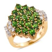 Dan's 25th Anniversary Collection Russian Diopside, Cambodian Zircon 14K YG Over Sterling Silver Ring (Size 7.0) TGW 5.26 cts.