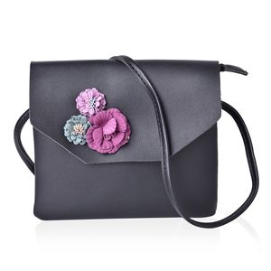 Black Faux Leather 3D Floral Crossbody Bag (7.5x6.5 in)