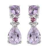Rose De France Amethyst, Morro Redondo Pink Tourmaline Platinum Over Sterling Silver Drop Earrings TGW 4.59 cts.
